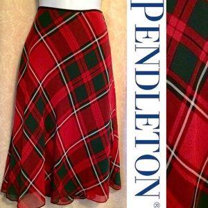NWOT Pendleton Classic Tartan Plaid  Silk Skirt